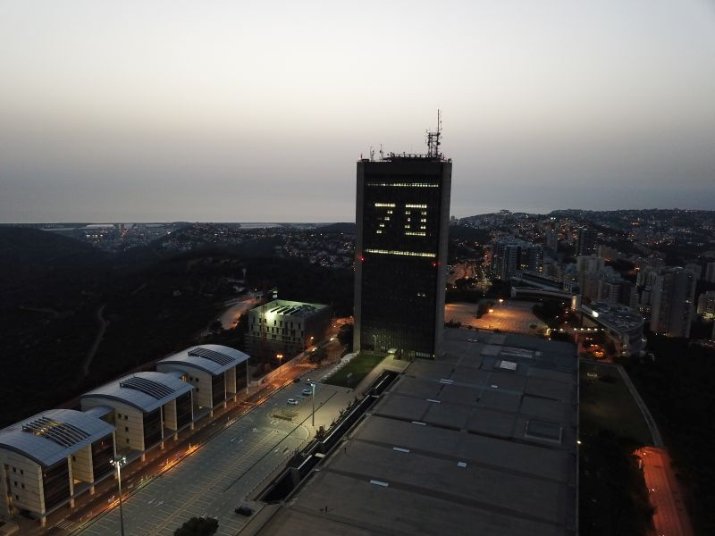 University's Migdal Eshkol Tower lit up for Israel's 70th